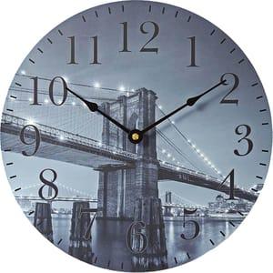Ceas de perete NEDIS Brooklyn CLWA007WD30BB, 12 cifre, diametru 30 cm, albastru