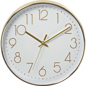 Ceas de perete NEDIS CLWA015PC30GD, 12 cifre, diametru 30 cm, fundal alb, auriu