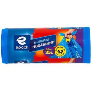 Saci menajeri EPACK 014364, 36 bucati, 35 l, albastru