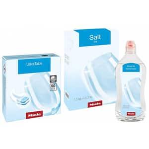 Pachet consumabile pentru masina de spalat vase MIELE 11368250: Ultra Tabs Multi, Sare si Agent de clatire