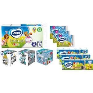 Pachet promo ZEWA Kids, 10 produse: Hartie Igienica, 3 x Batiste nazale, 3 x Servetele faciale, 3 x Hartie igienica umeda