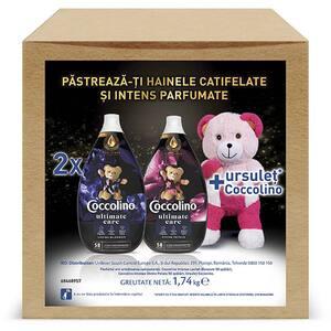 Pachet balsam de rufe COCCOLINO Intense Lavish, 878 ml + Intense Divine, 878 ml, 116 spalari + ursulet cadou