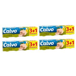 Ton in ulei de masline CALVO, 80g, 4 bucati