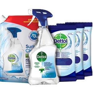 Pachet DETTOL Safe Family: Dezinfectant suprafete, 500ml + Rezerva dezinfectant suprafete, 1200ml + Servetele dezinfectante, 3 pachete, 40 buc