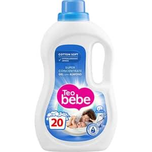 Detergent lichid TEO BEBE Cotton Soft Almond, 1.1l, 20 spalari