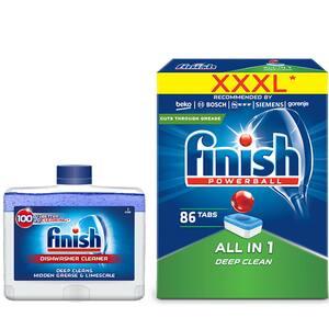 Pachet detergent vase FINISH All in One Max, 86 tablete + solutie de curatare FINISH, pentru masina de spalat vase, 250 ml