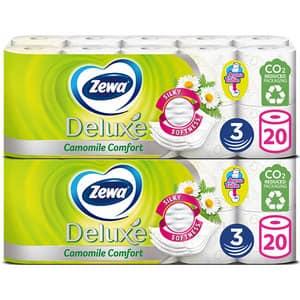 Pachet hartie igienica ZEWA Deluxe Camomile comfort, 3 straturi, 2 x 20 role