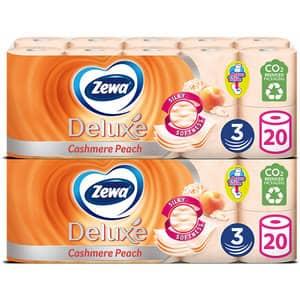 Pachet hartie igienica ZEWA Deluxe Cashmere peach, 3 straturi, 2 x 20 role