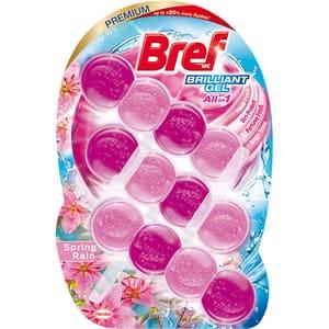 Odorizant toaleta BREF Brilliant Gel All in 1 Spring Rain, 3 x 42 g