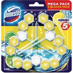 Odorizant toaleta DOMESTOS Power 5 Lime, 3 x 55 g