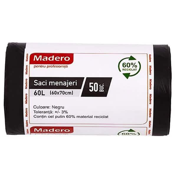 Saci menajeri MADERO 016177, 50 bucati, 60 l, negru