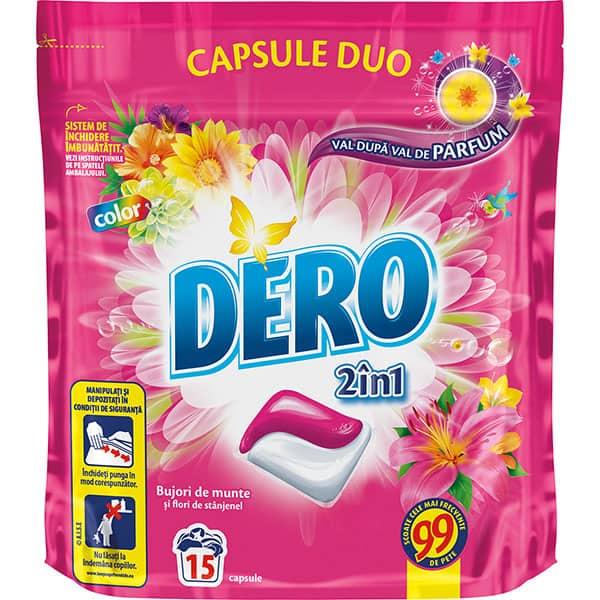Detergent DERO Duo Caps Bujor de munte, 15 capsule