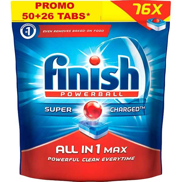 Detergent vase pentru masina de spalat vase FINISH All in One Max, 50+26 tablete