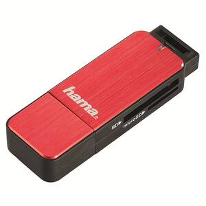 Cititor de carduri HAMA 123902, USB 3.0, microSD, rosu