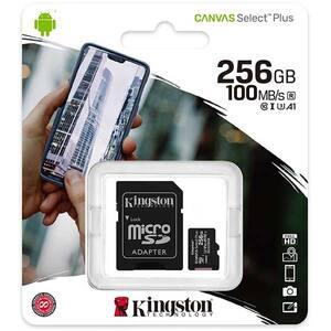 Card de memorie KINGSTON Canvas Select Plus microSDXC 256GB, Clasa 10 UHS-I, U3, V30, 100MBs, adaptor