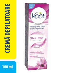 Crema depilatoare VEET Silk & Fresh, cu Lapte de Lotus si Iasomie, pentru piele normala, 100ml