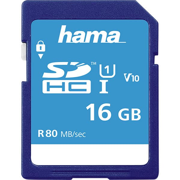 Card de memorie HAMA 124134 SDHC, 16GB, clasa 10 UHS-I, 80MBs