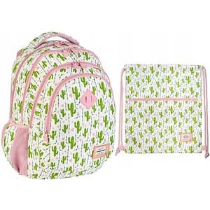 Set ghiozdan si saculet incaltaminte ASTRA Head, design cactus, verde-roz-alb