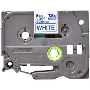 Banda etichete BROTHER TZe-223, 9 mm, 8 m, Albastru pe Alb