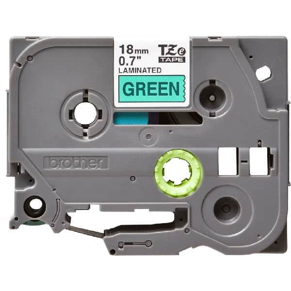 Banda etichete BROTHER TZe-741, 18 mm, 8 m, Negru pe Verde