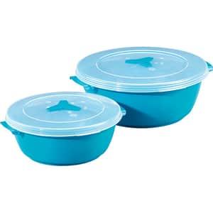 Set cutii alimente XAVAX 111525, 2 piese, 1-2l, 18-24cm, plastic, turcoaz
