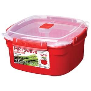 Caserola SISTEMA Microwave Steamer 4031064, 2.4l, plastic, rosu