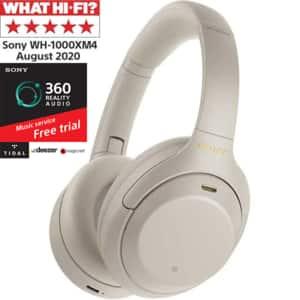 Casti SONY WH-1000XM4, Bluetooth, NFC, Over-Ear, Microfon, Noise Cancelling, argintiu