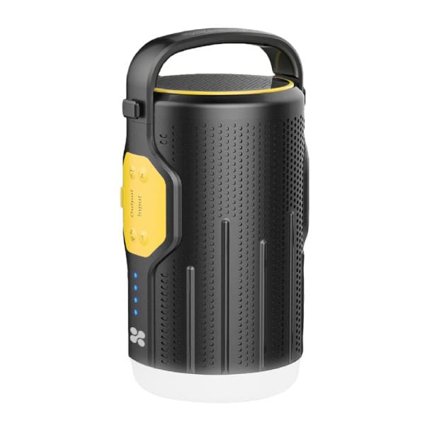 Lanterna LED reincarcabila pentru camping cu Powerbank 10000mAh si boxa wireless incorporate, PROMATE CampMate-2, negru-galben