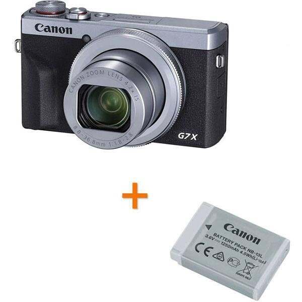 Aparat foto digital CANON PowerShot G7X MARK IIl + Acumulator Canon NB-13L, 4K, 20.1Mp, 4.2x, 3 inch, argintiu