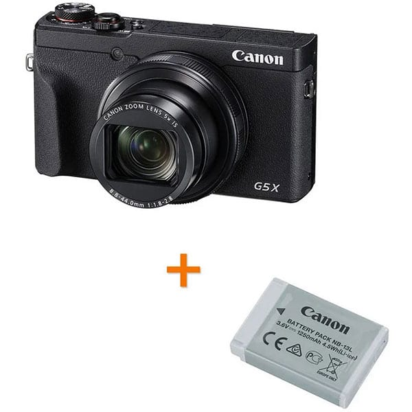 Camera foto digitala CANON PowerShot G5 X Mark ll + Acumulator Canon NB-13L, 4K, 20.1Mp, 5x, 3 inch, Black