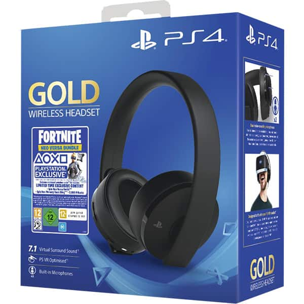 Casti Gaming Wireless SONY PlayStation (PS4) Gold, 7.1 surround, multiplatforma, USB, 3.5mm, negru Fortnite Neo Versa Bundle