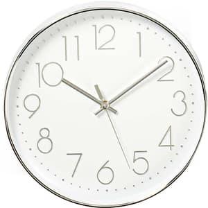 Ceas de perete NEDIS Trendy CLWA015PC30SR, 12 cifre, diametru 30 cm, fundal alb, argintiu