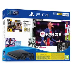 Consola SONY PlayStation 4 Slim (PS4 Slim) 500GB, Jet Black, F-Chassis + joc FIFA 21 + extra controller DualShock 4 V2