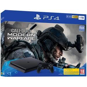 Consola SONY PlayStation 4 Slim (PS4 Slim) 1TB, Jet Black + joc Call of Duty Modern Warfare