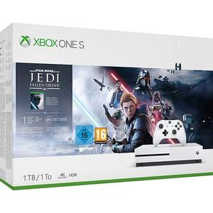 Consola Microsoft Xbox One S 1TB, alb + joc Star Wars Jedi: Fallen Order Deluxe Edition