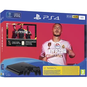 Consola SONY PlayStation 4 Slim (PS4 Slim), 1TB, Jet Black + extra controller DualShock 4 + joc FIFA 20, PS Plus 14 zile, voucher FIFA Ultimate Team