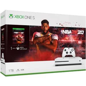 Consola MICROSOFT Xbox One S 1TB, alb + joc NBA 2K20 (cod download)