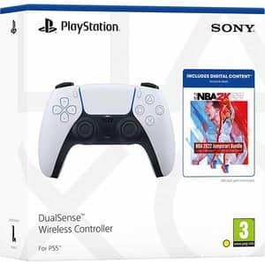 Controller Wireless PlayStation 5 DualSense + NBA 2K22 Jumpstart Bundle, White