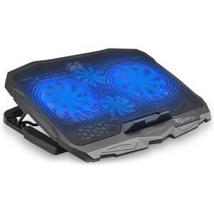 Cooler pad gaming WHITE SHARK Ice Warrior GCP-25, 17.3 inch, iluminare cu LED albastru, negru