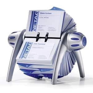 Clasor carti de vizita DURABLE Visifix Flip, 400 carti de vizita, polipropilena, argintiu