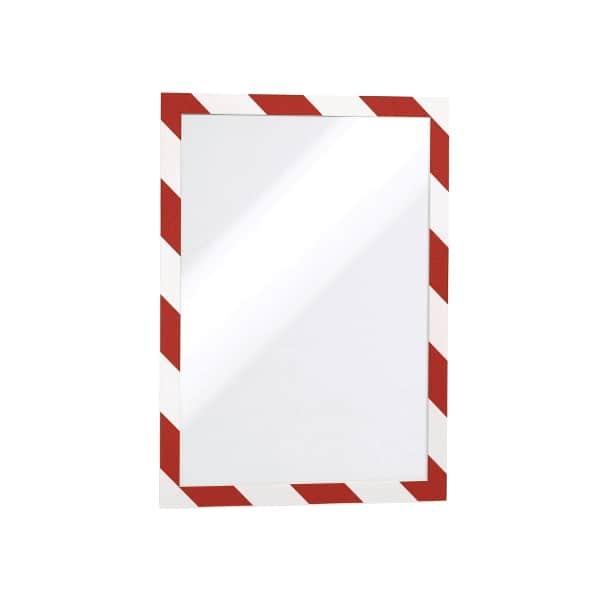 Display magnetic DURABLE Security, A4, 5 bucati, alb-rosu
