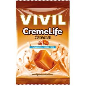Drajeuri VIVIL Creme Life caramel fara zahar, 110g, 4 bucati