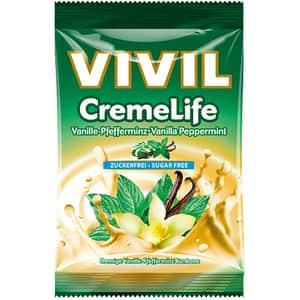 Drajeuri VIVIL Creme Life vanilie si menta fara zahar, 110g, 4 bucati