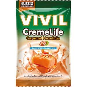 Drajeuri VIVIL Creme Life alune si caramel fara zahar, 110g, 4 bucati