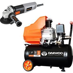 Compresor aer DAEWOO DAAC24D, 24L, 1500W, 2CP, 8 bar, 195L/min, cu ulei + Polizor unghiular DAEWOO DAAG115-75