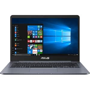 "Laptop ASUS E406NA-EK026T, Intel Celeron N3350 pana la 2.4GHz, 14"" Full HD, 4GB, EMMC 128GB, Intel HD Graphics 500, Windows 10 Home S, gri"