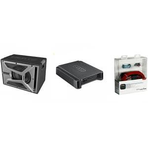 Pachet Subwoofer auto HERTZ EBX 200.5 + Amplificator HCP2 + kit cabluri FPK 700