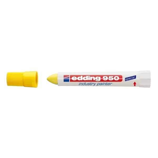 Marker permanent EDDING 950 Industrial, 10 mm, corp plastic, galben