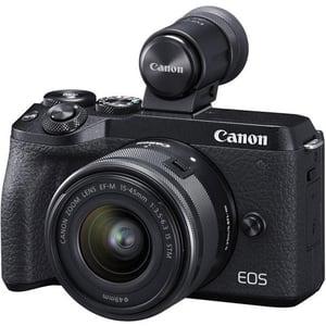 Aparat foto Mirrorless CANON EOS M6 Mark II, 32.5 MP, Wi-Fi, negru + Obiectiv 15-45mm IS + EVF-DC2