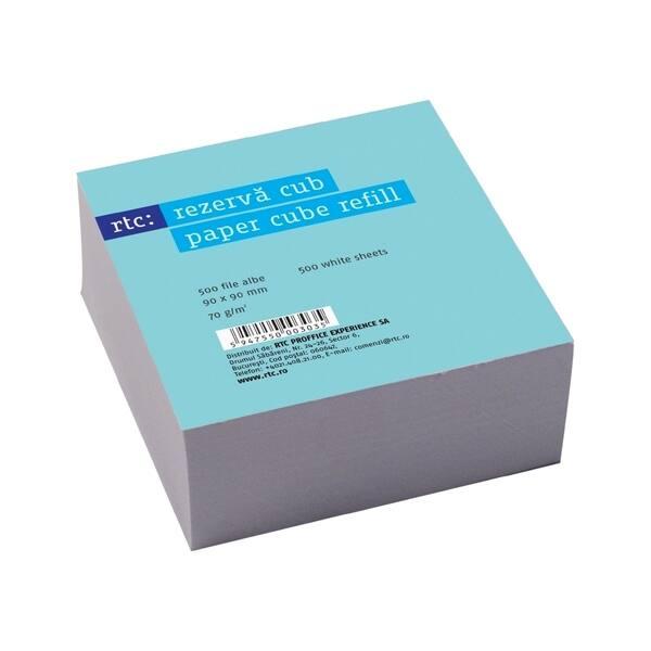 Rezerva cub hartie  RTC, 500 file, 90 x 90mm, alb